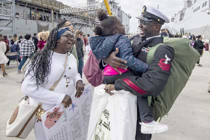 SAN DIEGO (Nov. 27, 2019) Chief Personnel Specialist Jonathan Kwakye, from Accre, Ghana, assigned to the amphibious transport dock ship USS John P. Murtha (LPD 26), reunites with his family during a homecoming gathering at Naval Base San Diego. John P. Murtha, part of the Boxer Amphibious Ready Group (ARG), returns to its homeport of San Diego following a 7-month deployment to the 5th and 7th fleet area of operations U.S. Navy photo by MC2 Kyle Carlstrom.